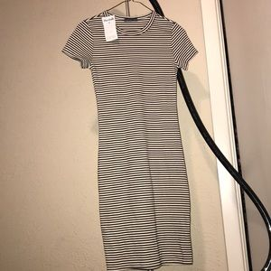 Sprano striped short sleeve dress s black cream